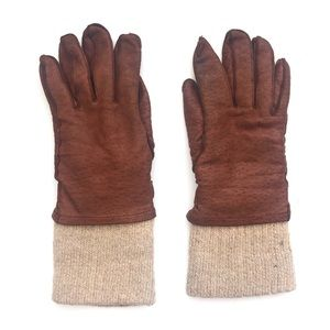 Vintage Brown Leather Wool Long Cuff Moto Gloves